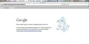 Página hacia la que redirige Google al intentar acceder a los servicios de  Google Analytics