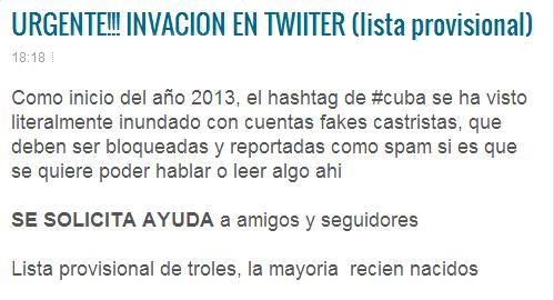 Denuncia cuentas de tuiteros cubanos