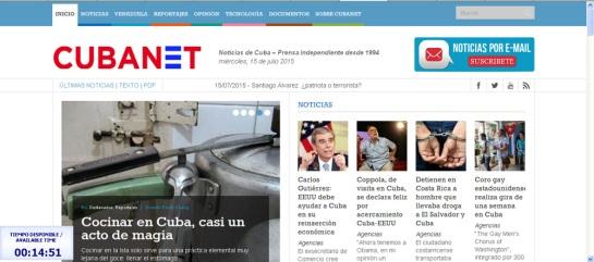 Portada de Cubanet el pasado 15 de julio accediendo desde Nauta