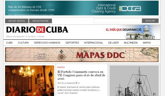 Portada de Diario de Cuba el pasado 15 de julio accediendo desde Nauta