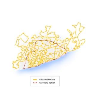El mapa muestra el trazado de la red de fibra óptica en la ciudad de Accra, Ghana. Imagen tomada del sitio oficial de Project Link