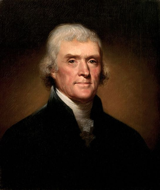 Retrato de Thomas Jefferson por Rembrandt Peale en 1800.